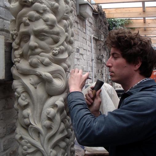 sculptor working close