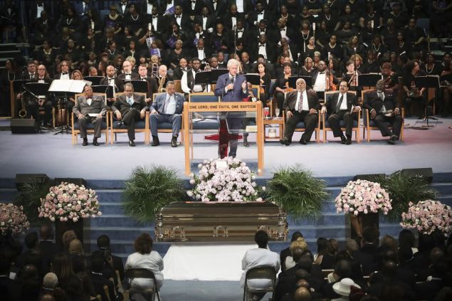 Clinton speaking @ funeral