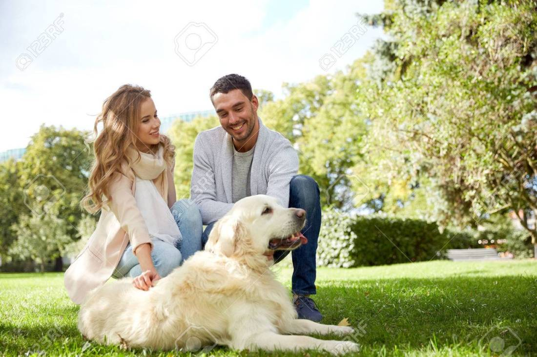 happy people with dog