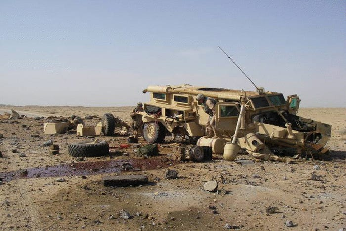 humvee hit by roadside bombs